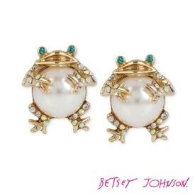 ベッツィージョンソン Betsey Johnson アニマルピアスPEARL CRITTERS FROG STUD EARRINGS(Gold) パール フログ ピアス(ゴールド) 動物 かえる お呼ばれ,パーティで差をつける華やかコーデ!
