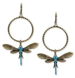 ベッツィージョンソン Betsey Johnson ピアスGold Tone Blue Crystal Dragonfly Gypsy Hoop Earrings (ドラゴンフライ)レディースアクセサリー とんぼ