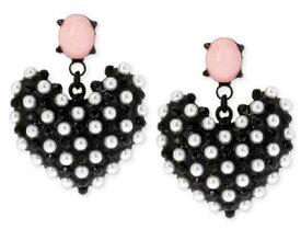 ベッツィージョンソン Betsey Johnson ピアスBlack-Tone Imitation Pearl Heart Earrings(ハート)イミテーションコンクパール