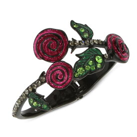 ベッツィージョンソン ブレスレット Betsey Johnson Black-Tone Pave Leaf & Glitter Rose Bangle Bracelet (Black) パヴェ リーフ グリッター ローズ バングル ブレスレット (ブラック)