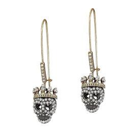 ベッツィージョンソン ピアス Betsey Johnson Two-Tone Pave Skull Long Drop Earrings (Crystal) パヴェ スカル ロング ドロップピアス (クリスタル) Dark Shadows Skull Earrings