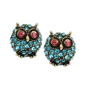 ベッツィージョンソン ピアス Betsey Johnson Gold-Tone Blue Pave Owl Stud Earrings (Blue) ブルー パヴェ フクロウ スタッドピアス (ブルー)