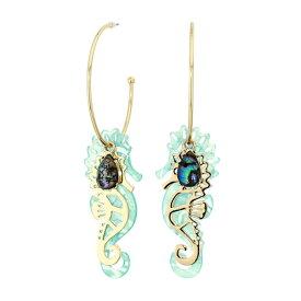 ベッツィージョンソン ピアス Betsey JohnsonGold-Tone Stone & Seahorse Charm Convertible Hoop Earrings (Blue) シーホース チャーム フープピアス (ブルー) Convertible Seahorse Hoop Earrings