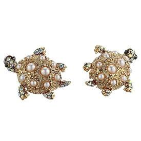 ベッツィージョンソン ピアス Betsey Johnson 300655SURFMAID TURTLE STUD EARRINGS (Ivory) タートル スタッドピアス (アイボリー) Pave & Imitation Pearl Turtle Stud Earrings