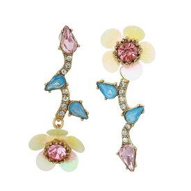 ベッツィージョンソン ピアス Betsey Johnson Crystal Flower Mismatch Drop Earrings (Multi) クリスタル フラワー ミスマッチ ドロップピアス (マルチ) Flower Mismatch Earrings