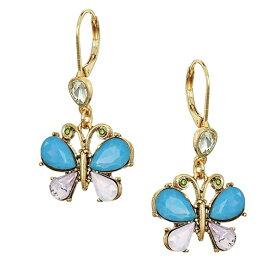ベッツィージョンソン ピアス Betsey Johnson Crystal Butterfly Drop Earrings (Pink) クリスタル バタフライ ドロップピアス (ピンク) Butterfly Shepherd's Hook Earrings