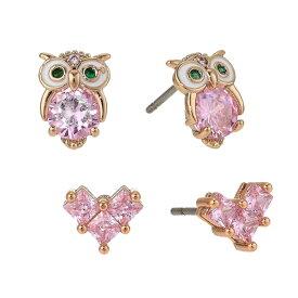 ベッツィージョンソン ピアス Betsey Johnson 2-Pc. Set Crystal Owl & Heart Stud Earrings (Pink) クリスタル フクロウ & ハート スタッドピアス 2ピースセット (ピンク) Owl Duo Set Earrings
