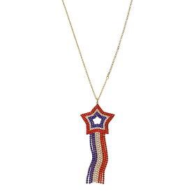 ベッツィージョンソン ネックレス Betsey Johnson 318245FIREWORK FUN STAR PENDANT (Red White Blue) スター ペンダント ネックレス (レッド/ホワイト/ブルー) Star Fringe Pendant Necklace