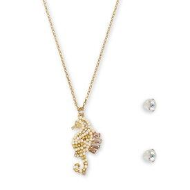 ベッツィージョンソン ネックレス/ピアス Betsey Johnson 300607SURFMAID SEAHORSE SET (Ivory) シーホース ネックレス&ピアス セット (アイボリー) Crystal & Imitation Pearl Seahorse Pendant Necklace & Stud Earrings Set