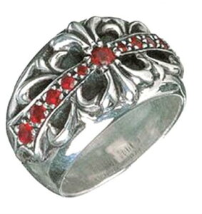 クロムハーツ Chrome Hearts リングフローラルクロスリング ウイズルビー  Floral Cross Ring With Ruby本物 正規品 アメリカ買付 USA直輸入