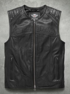 Harley Davidson Harley-Davidson人皮革最好Men's Tremor Leather Vest新作品哈雷純正正規的物品美國購置USA直接進口郵購