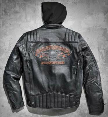 Men's burning skull 3 in 1 leather jacket