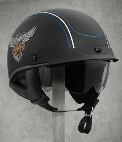 ハーレーダビッドソン Harley Davidsonハーフ ヘルメット115th Anniversary Ultra-Light Sun Shield J03 Half Helmet マットブラック 新作 ハーレー純正 正規品 アメリカ買付 USA直輸入 通販