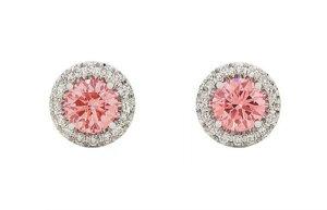 デビアス De Beers ジュエリー ライトボックス Lightbox イヤリングHalo Lab-Grown Diamond Stud Earrings ホワイト/ピンクラブダイヤモンド(約1.00ct)CVDダイヤモンド 合成ダイヤモンド ラボダイヤモ