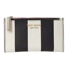 ケイトスペード 二つ折り財布 PWRU8084 Kate Spade ● spencer stripe small slim bifold wallet (BLACK MULTI) スペンサー ストライプ スモール スリム バイフォールド ウォレット(ブラックマルチ)