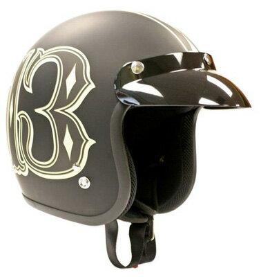 ラッキー 13メンズ ヘルメットLucky-13 Number 13 Motorcycle Helmet 新作 アメリカ買付 USA直輸入