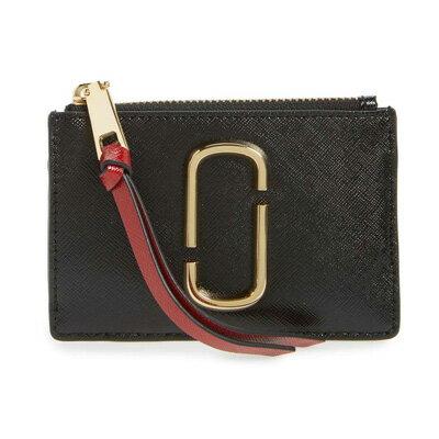 マークジェイコブス カードケース M0013359 MARC JACOBS Snapshot Top Zip Multi Wallet (BLACK/CHIANTI) スナップショット トップジップ 財布 (ブラック) Snapshot Leather ID Wallet ● 新作 正規品 レディース IDケース 小銭入れ コインケース キーケース