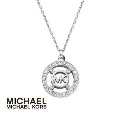 マイケル マイケルコース ネックレス Michael Kors MKJ4099040クリスタル ロゴ ペンダント ネックレス (シルバー)Crystal Logo Pendant Necklace (Silver)新作 正規品 アメリカ買付 レディース