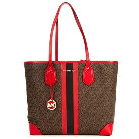 マイケルコース トートバッグ 30T9GV0T7B Michael Michael Kors Eva Large Logo Stripe Tote Bag (Brown/Bright Red) EVA ラージ トート (ブラウン/ブライトレッド) 新作 正規品 アメリカ買付 レディース バッグ 通勤 通学
