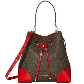 マイケルコース 2WAYバッグ 30F9GZ5L6B Michael Michael Kors Mercer Gallery Medium Logo Shoulder Bag (Brown/Bright Red) MERCER GALLERY ミディアム コンバーチブル バケットショルダー (ブラウン/ブライトレッド) 新作 正規品 アメリカ買付 レディース バッグ