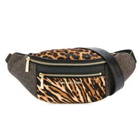 マイケルコース ショルダーバッグ Michael Michael Kors Mott Leather Waistpack (Brown Multi) レザー ベルトバッグ (ブラウンマルチ) 新作 正規品 アメリカ買付 レディース バッグ ポシェット ボディバッグ ウエストバッグ アニマル柄 ヒョウ柄 レオパード