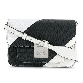 マイケルコース ショルダーバッグ Michael Michael Kors 30S9GS9L3LSloan Editor Two-Tone Logo and Leather Shoulder Bag (White/Black) ロゴ & レザー ショルダーバッグ (ブラックマルチ) 新作 正規品 レディース バッグ クロスボディバッグ ポシェット