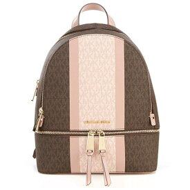 マイケルコース バックパック Michael Michael Kors 30S9GEZB8BRhea Medium Striped Logo and Leather Backpack (BROWN/FAWN) リア ミディアム ストライプ バックパック (ブラウンマルチ) 新作 正規品 レディース バッグ リュック リュックサック