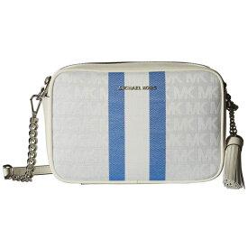 マイケルコース ショルダーバッグ Michael Kors Signature Striped Medium Camera Bag (Grecian Blue Multi) ストライプ ミディアム カメラバッグ (ブルーマルチ) Medium Camera Bag 新作 正規品 アメリカ買付 レディース バッグ ポシェット ミニバッグ クロスボディ