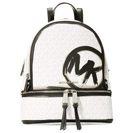 マイケルコース バックパック 30S0SEZB2B Michael Michael Kors Rhea Medium Logo Backpack (White Combo) RHEA ZIP ミディアム バックパック - グラフィック (ホワイト コンボ) 新作 正規品 アメリカ買付 レディース バッグ リュック リュックサック 通勤 通学