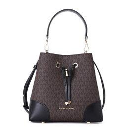 マイケルコース ショルダーバッグ Michael Michael Kors 30F9GZ5L1B Mercer Gallery Small Logo Shoulder Bag (Brown/Black) MERCER GALLERY スモール コンバーチブル バケットショルダー - MKロゴ (ブラウン/ブラック)