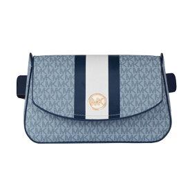 マイケルコース ショルダーバッグ Michael Michael Kors Women's Logo Belt Bag with Stripe (Pale Blue) ロゴ ベルトバッグ ストライプ (ペールブルー)