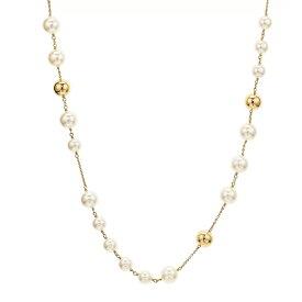 """トリーバーチ ネックレス Tory Burch 54066LOGO PEARL ROSARY (Tory Gold / Pearl) ロゴ パール ロザリー ネックレス (ゴールド) Logo Rosary Necklace, 37"""" 新作 正規品 レディース ジュエリー ペンダント ギフト プレゼント"""