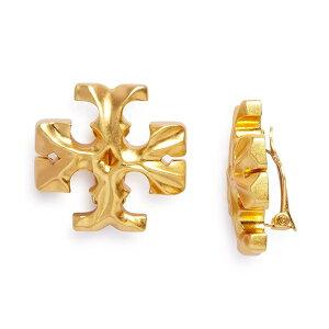 トリーバーチ イヤリング Tory Burch 63351 ROXANNE CLIP-ON EARRING (Rolled Brass) ロクサーヌ クリップオン イヤリング (ブラス) Roxanne Logo Clip-On Stud Earrings 新作 正規品 アメリカ買付 レディース ジュエリー