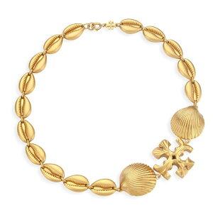トリーバーチ ネックレス Tory Burch Goldtone Logo & Seashell Statement Necklace (Rolled Brass) ロゴ & シーシェル ステートメント ネックレス (ブラス)Shell Statement Necklace 新作 正規品 アメリカ買付 レディー