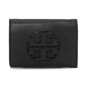 トリーバーチ 二つ折り財布 Tory Burch 58130MILLER MEDIUM FLAP WALLET (Black) ミラー ミディアム フラップ ウォレット 財布 (ブラック) Medium Milller Tri-Fold Leather Wallet