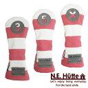 エヌ.イー.ヒュッテ N.E.Hutte 帆布キャンバスシリーズ フェアウェイウッド用 ヘッドカバー ボーダー ピンク/ホワイト