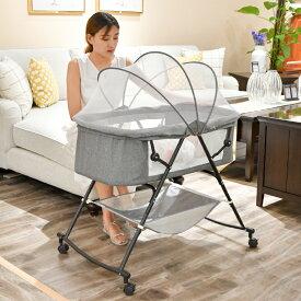 ベビーベッド 折りたたみベッド ハイローベッド 多機能ベビーベッド ポータブル 揺りかご 蚊帳 添い寝 コンパクト 収納バッグ付き 軽量 通気性良い 新生児0ヶ月 ~ 18ヶ月 3色