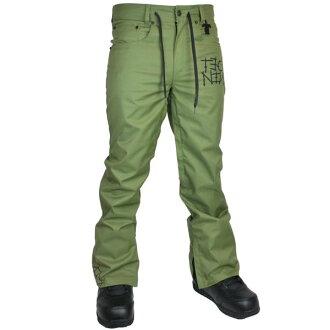 TECH NINE(텍 나인) SLIMISH STRETCH DENIM PANT SHELL 스노보드 팬츠 맨즈 ARMY GREEN