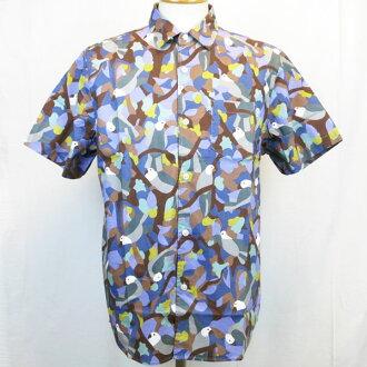 POLER CAMPING STUFF(폴라-) BIRDY S/S WOVEN 캐주얼 반소매 셔츠 탑스 프린트 아웃 도어