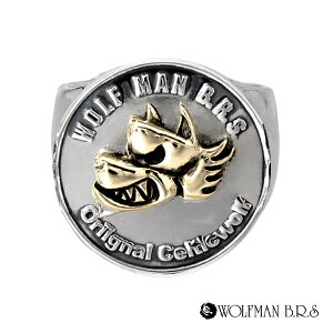 リング 指輪 狼 ウルフマンBRS シルバー925 アクセサリー メンズ ウォーウルフ 狼 ウルフ コイン お金 マネー コインリング 19号 21号 23号 ウォーウルフコインリン ゴールド