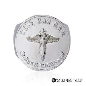 リング 指輪 狼 ウルフマンBRS シルバー925 アクセサリー メンズ エンジェル 天使 ムーン 狼 ウルフ コイン お金 マネー コインリング 19号 21号 23号 エンジェルコインリング