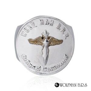リング 指輪 狼 ウルフマンBRS シルバー925 アクセサリー メンズ エンジェル 天使 ムーン 狼 ウルフ コイン お金 マネー コインリング 19号 21号 23号 エンジェルコインリングゴールド