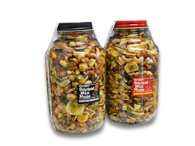 """【MUNCHIE FOODS/マンチーフーズ】「Smoked Mix Nuts""""Extra Bottle""""/スモークドミックスナッツ""""エクストラボトル""""」(1kg)【DM便不可】【あす楽対応】(燻製/ドライフルーツ)"""