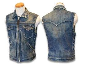"""【SKULL FLIGHT/スカルフライト】「Riders Denim Club Zip Vest""""Vintage Finish""""/ライダースデニムクラブジップベスト""""ヴィンテージフィニッシュ""""」【送料・代引き手数料無料】【あす楽対応】(CALIFORNIA LINE/カリフォルニアライン/ハーレー/バイカー/アメカジ)"""