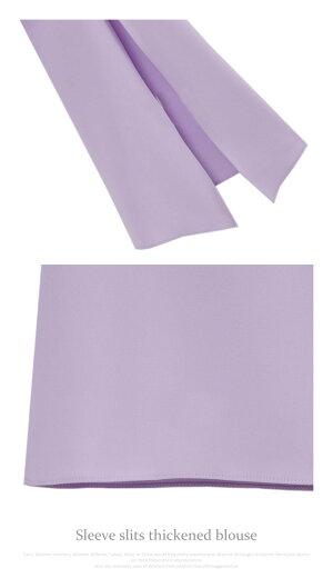 ブラウス七分袖夏秋【メール便送料無料♪】レディースVネックスリットトレンド大きいサイズおしゃれかわいい2016シフォンフリルブロガーインスタ白ホワイトブラック黒着やせ体型カバー紫ラベンダーSMLLL2L