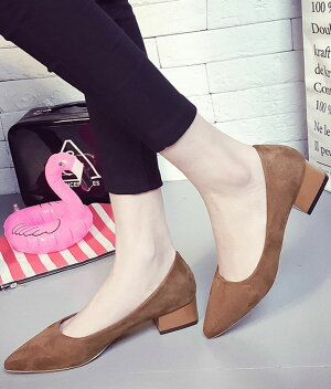 パンプス太ヒール痛くない秋冬チャンキーヒールレディースローヒールスウェード黒赤靴ポインテッドトゥ履きやすいシンプルおしゃれかわいい歩きやすいカーキ茶色3センチヒールレッドソール春