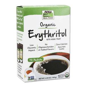 オーガニック エリスリトール ウィズ モンク フルーツ 140g(4.94oz) 70回分 NOW Foods (ナウフーズ)甘味料 ダイエット 女性 糖 有機 健康 送料無料