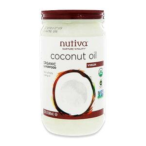 オーガニック スーパーフード バージンココナッツオイル 680ml(23floz)45回分 Nutiva(ヌティバ)未精製 料理 お菓子 オシャレ 低カロリー 脂肪酸
