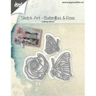 6002-1134/Joy!Crafts/喬伊·手藝/dai(抜型)/Sketch Art Butterflies and rose蝴蝶蝴蝶玫瑰花玫瑰花玫瑰