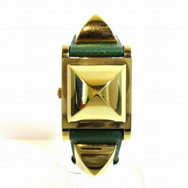 エルメス Hermes メドール ME1.210 グリーン X刻印 クォーツ 時計 腕時計 レディース ★送料無料★【中古】【あす楽】